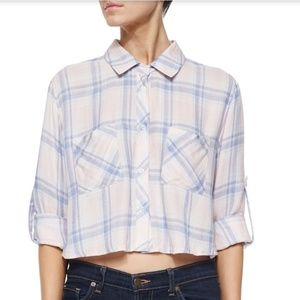 "Rails ""Rian"" cropped poplin shirt in plaid size S"